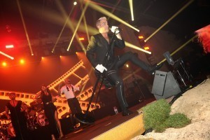 Robbie Williams performing at the Chopard Party Gold